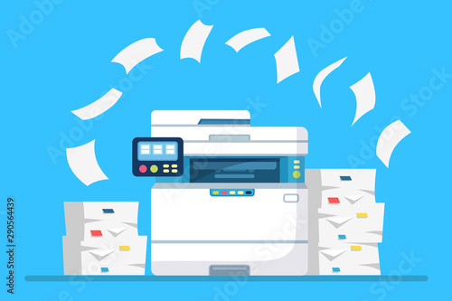 Printer, office machine with paper, document stack Canvas Print