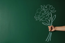 Closeup View Of Woman With Drawn Flowers On Green Chalkboard, Space For Text. Teacher's Day