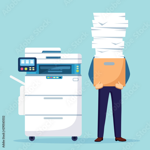 Fotografía  Pile of paper, busy businessman with stack of documents in carton, cardboard box
