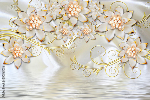 Do pokoju   3d-mural-illustration-background-with-golden-jewelry-and-flowers-circles-decorative-wallpaper