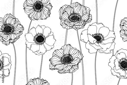 Anemone flower and leaves pattern seamless background illustration Fototapeta
