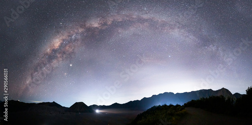 Keuken foto achterwand Lavendel Beautiful night landscape with silhouette of Bromo mountain on the background Milky way galaxy - Bromo Tengger Semeru National Park , Indonesia