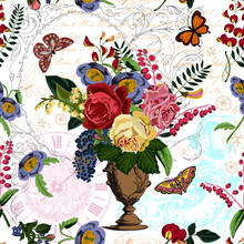 Rich Pink Yellow Red Roses And Blue Red Pink Flowers And Leaves Bouquet In A Vintage Vase. The Flowers Are Surrounded By Butterflies. In The Background There Are Calligraphies Clock And Home Decor.