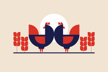 Hens On Background Of Sun And Ears Of Corn In Folk Style. Illustration Can Be Used For Packaging Design, Menus, Design In Markets And Meat Stores. Vector Vintage Image.