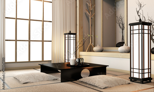 Leinwanddruck Bild - Interior Design : Ryokan living room japanese style with tatami mat floor and decoration.3D rendering