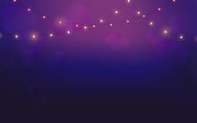 String Lights On Violet Background
