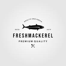 Mackerel Fish Logo Hipster Vintage Label Emblem Vector Seafood Illustration