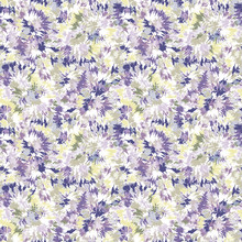 Blurry Shibori Tie Dye Naive Daisy Background. Seamless Pattern On Bleached Resist White. Spring Lilac Pastel For Irregular Dip Dyed Batik Textile. Variegated Pale Textured Trendy Fashion Swatch.