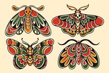 Moth Hand Drawing Old School Tattoo.