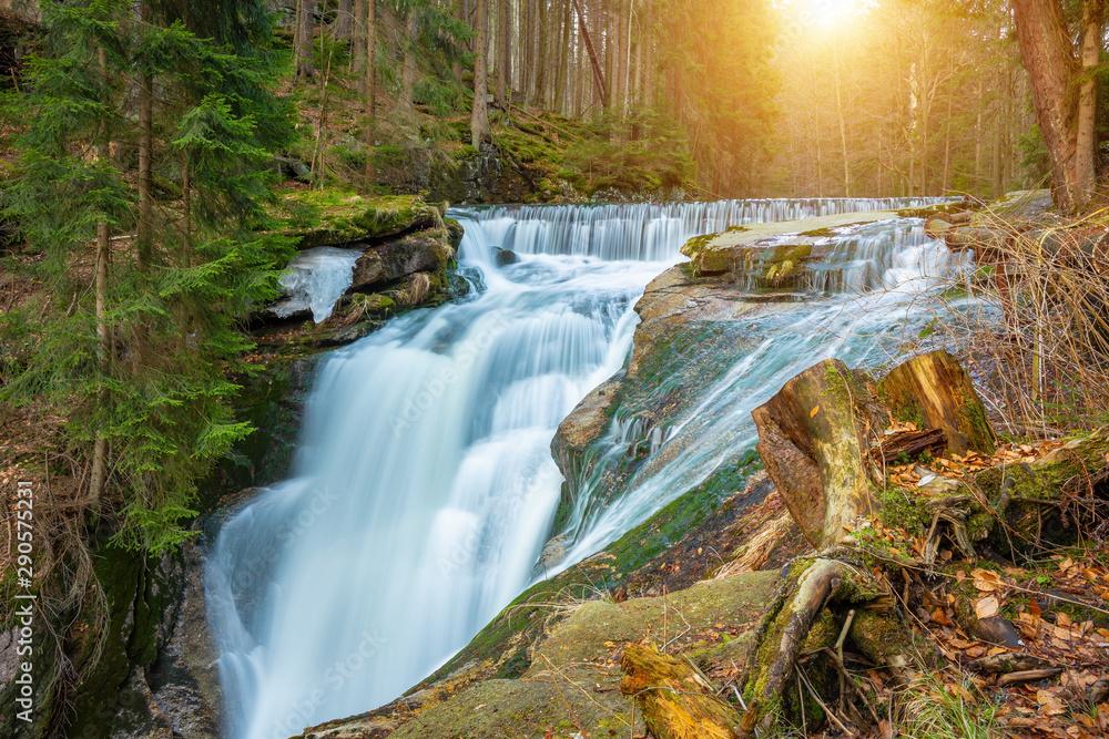 Fototapety, obrazy: River in the forest, Szklarki waterfall, Karkonosze, Poland