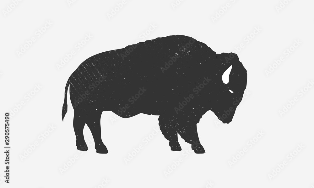 Fototapeta Bison icon silhouette with grunge texture. Buffalo silhouette isolated on white background. Vector illustration