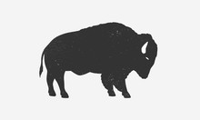 Bison Icon Silhouette With Gru...