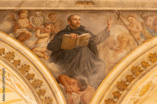 ACIREALE, ITALY - APRIL 11, 2018: The fresco of St. Ignace of Loyola in Duomo by Giuseppe Sciuti (1907).