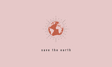 Save The Earth - Trendy Textured Poster. Minimal Modern Design. Vector Illustration