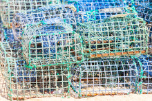 Stacked Lobster And Crab Traps In Algarve, Portugal