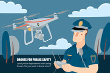 Police Officer, Policeman Operating A Flying Drone With Remote Controller, Horizontal Banner, Flyer Template, Flat Style Vector Illustration With Place For Text. Policeman Operating A Patrolling Drone