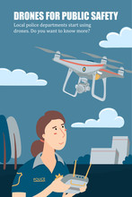 Police Officer, Policewoman Operating Drone With Remote Controller, Vertical Banner, Flyer Template, Flat Vector Illustration With Place For Text. Female Police Officer Operating A Patrolling Drone