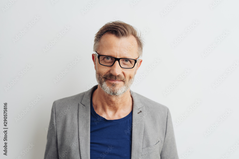 Fototapety, obrazy: Bearded middle-aged man in glasses
