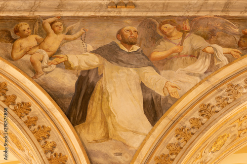 ACIREALE, ITALY - APRIL 11, 2018: The fresco of St. Dominic in Duomo by Giuseppe Sciuti (1907).