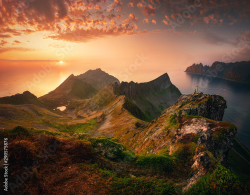 Foto op Canvas Noord Europa Sunset in Senja island, Norway