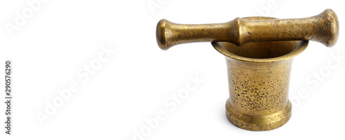Metal mortar and pestle isolated on white background. Wide photo. Wallpaper Mural