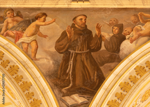 ACIREALE, ITALY - APRIL 11, 2018: The fresco of Stigmatization of St. Francis of Assisi in Duomo by Giuseppe Sciuti (1907).