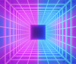canvas print picture Futuristic Sci-Fi Background. glowing neon grid. 3d rendering