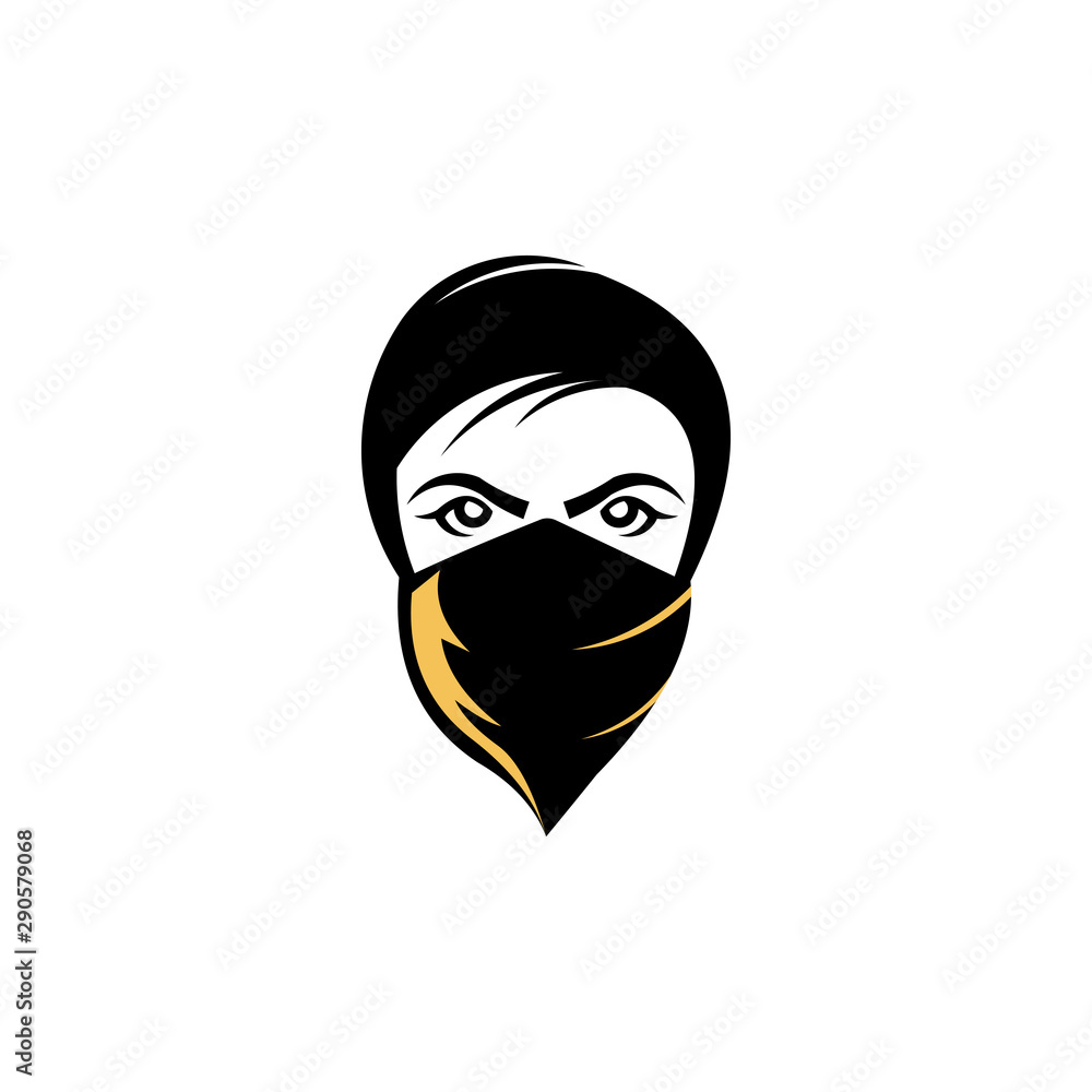 Fototapeta vector bandit women, a bandit girl with bandana, bandit girl wearing a cowboy hat with long hair