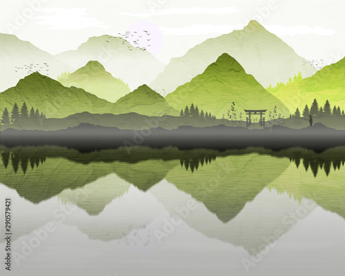 Poster Taupe Oriental Japanese landscape, with reflection of mountains in lake, and mist forming over water. Lone fisherman silhouette and archway on the banks of the lake. Processed in graduated green tones.