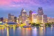 canvas print picture Detroit skyline in Michigan, USA at sunset