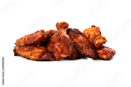 Foto op Canvas Buffel Fried wings close-up. Buffalo wings isolated on white.