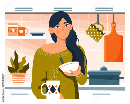 Foto Young woman having breakfast in her kitchen with cereal and coffee in a Daily Li