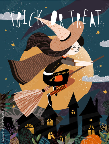 Ingelijste posters Halloween Happy Halloween! Vector cute illustration of a witch on a broomstick flying on a moonlit night over a gloomy city. Drawing for card, background or poster.