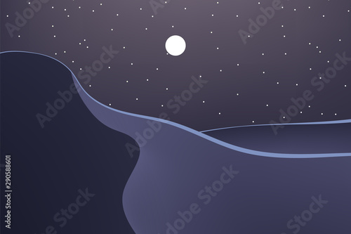 Montage in der Fensternische Aubergine lila Nature at night. Beautiful desert. Outdoor vector illustration design. Beautiful landscape.