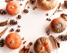 Pumpkins, Pine Cones, Dry Leaves And Acorns In A Circle Frame Top View On White