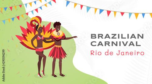 Photo  Brazilian carnival flat banner vector template