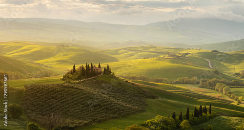 Spring panorama of the most beautiful area in Tuscany, Val d'Orcia Valley Fotobehang