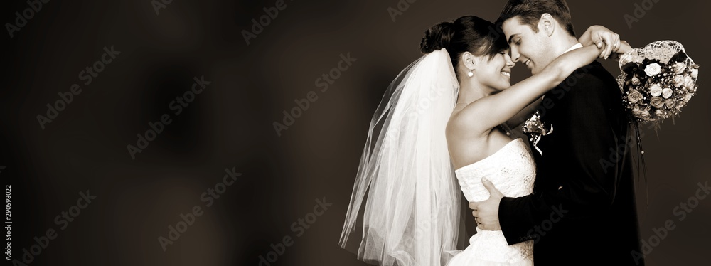 Fototapety, obrazy: Happy just married young couple on black background, vintage