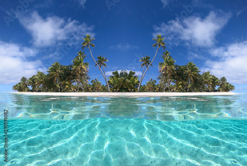 Fotomural  HALF UNDERWATER: Picturesque view of a tropical sandy beach and turquoise ocean