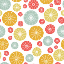 Ornate Circles Seamless Vector Pattern Background. Colorful Retro Geometric Print Design.