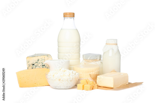 Montage in der Fensternische Milchprodukt Fresh dairy products isolated on white background. Cheese, milk, butter