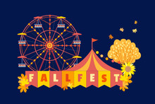 Autumn Fall Fest Fun Flat Color Vector Poster