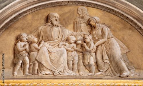 MALCESINE, ITALY - JUNE 13, 2019: The fresco of Jesusamong the children in church Chiesa di Santo Stefano.
