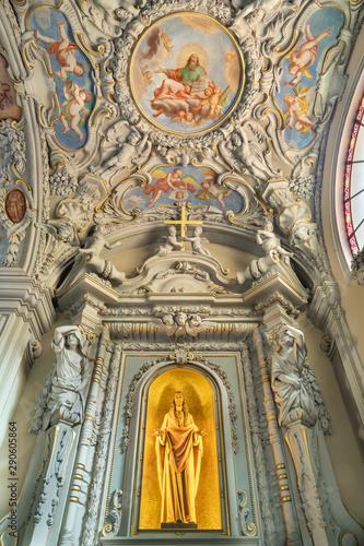 MENAGGIO, ITALY - MAY 8, 2015: The Heart of Jesus chapel and neobaroque ceiling fresco of God the Creator in church chiesa di Santo Stefano by Luigi Tagliaferri (1841-1927).