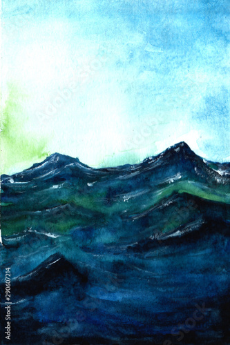Blue sea storm and blue sky watercolor drawing. watercolor background for textures. Abstract watercolor background.