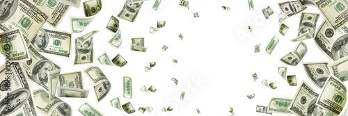 Fototapeta Money stack. Hundred dollars of America. Falling money isolated, obraz