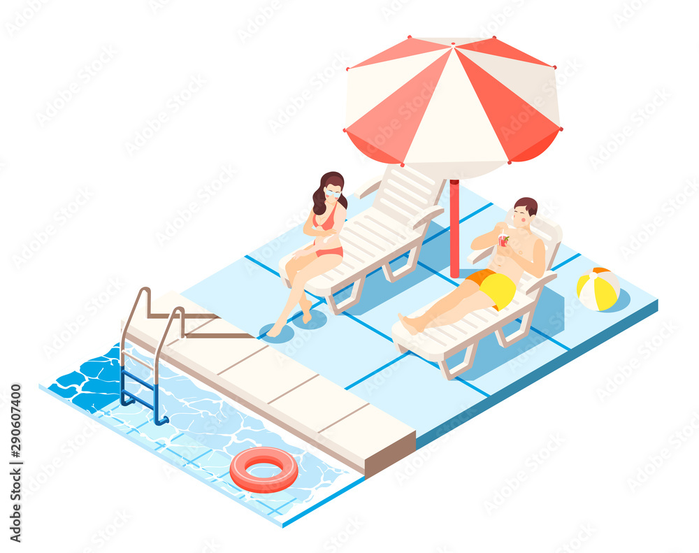 Fototapety, obrazy: Waterpark Isometric Composition