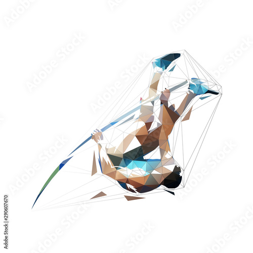 Photo Pole vault, abstract low polygonal isolated vector illustration, geometric jumpi
