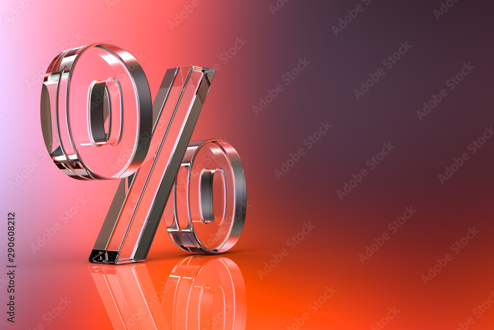 Fototapety, obrazy: Percent sign. 3d Rendering with HDR quality