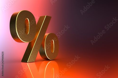 Percent sign. 3d Rendering with HDR quality
